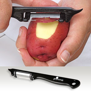 "World's Best German Engineered Peeler -  Best quality peeler! Fine edge, swivel blade. Dishwasher safe. Features stainless steel, swivel double-sided blades, potato eye remover tip, ergonomic handle for right or left-handed users, and embedded eyelet for hanging storage. (7""L) (Product Number PM31339) $7.98 CAD www.davesgift.shopregal.ca"