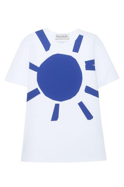 Хлопковая футболка Etre Cecile - Белая хлопковая футболка с изображением солнца в интернет-магазине модной дизайнерской и брендовой одежды