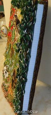 Okładka na zeszyt z haftem w stylu Facile- od strony kartek