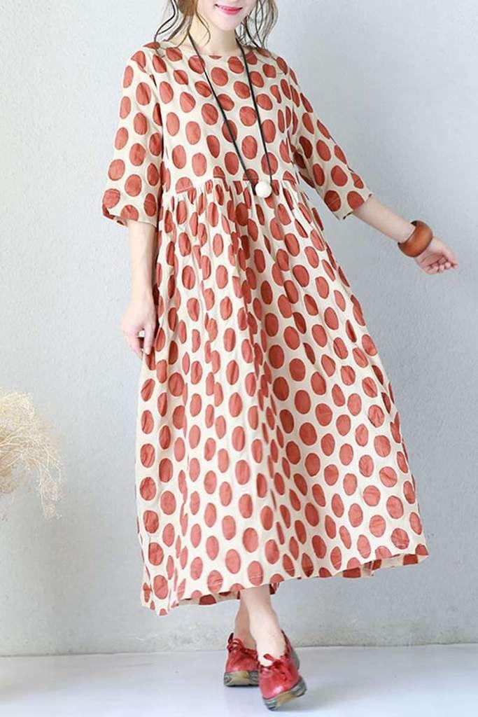 7749706cc46 Red Big Points Cotton Summer dresses For Women Q670