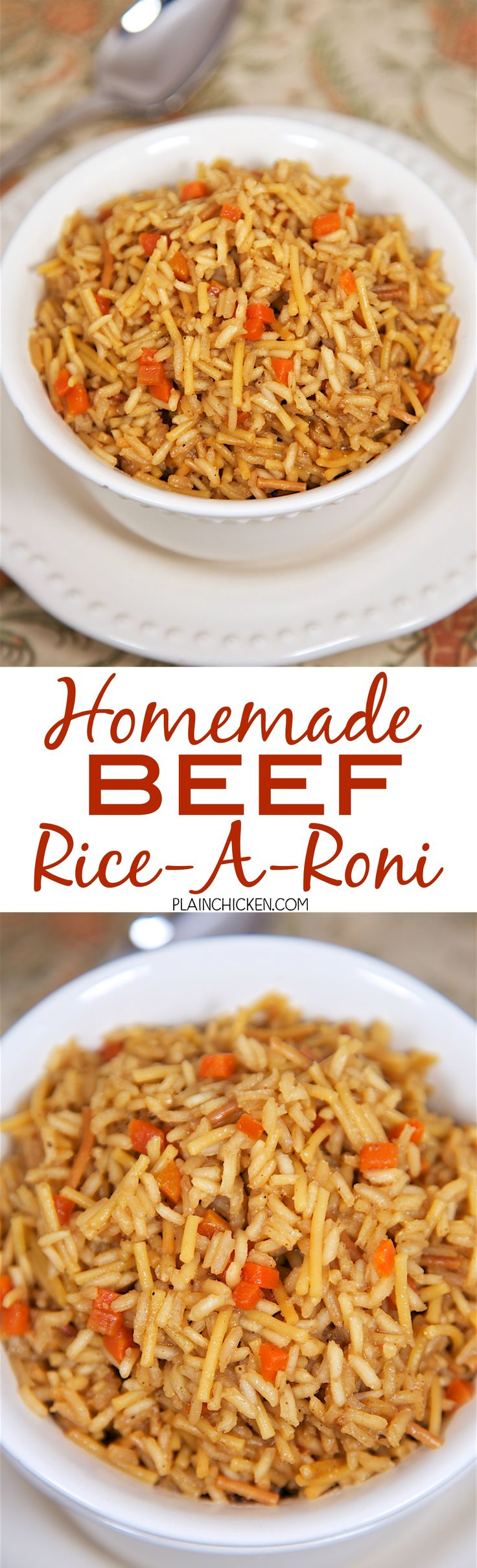 Homemade Beef Rice-A-Roni - never use the boxed stuff again! This looked and tasted just like the real thing! I had to tell my husband that I made the rice from scratch - not a box. Rice, pasta, beef broth, beef bouillon, onion powder, Worcestershire, soy sauce, garlic powder, pepper and chopped carrots. Seriously delicious - tons of great beefy flavor! We make this all the time - SO much better than the box.