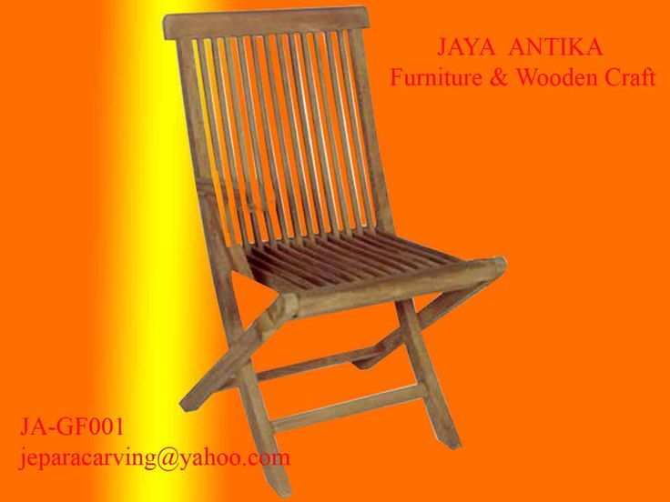 Kode Barang  : JA-GF001  Nama Barang  : Kursi Lipat Standard    Kursi lipat standard dari kayu jati pilihan yang dikerjakan oleh tukang kayu profesional dan sudah sangat berpengalaman. Dengan bahan dari kayu Jati yang sudah terkenal dengan kekuatan dan ketahanan terhadap cuaca, menjadikan kursi lipat ini bisa di taruh dimana saja, di luar ruangan maupun di dalam ruangan. Kursi lipat ini bisa di pasangkan dengan meja makan maupun meja teras, dengan ukuran kursi ini adalah 48x50x98