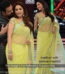 Buy lime green Thread work Net saree with blouse madhuri-dixit-saree online