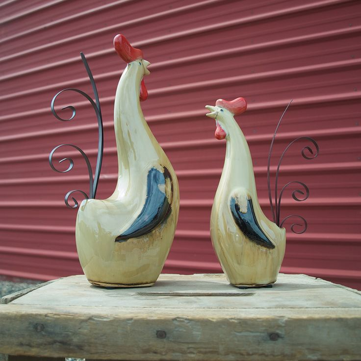 Ceramic Roosters, Set of 2