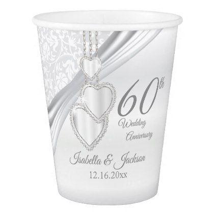 60th Diamond Wedding Anniversary Paper Cup - anniversary cyo diy gift idea presents party celebration