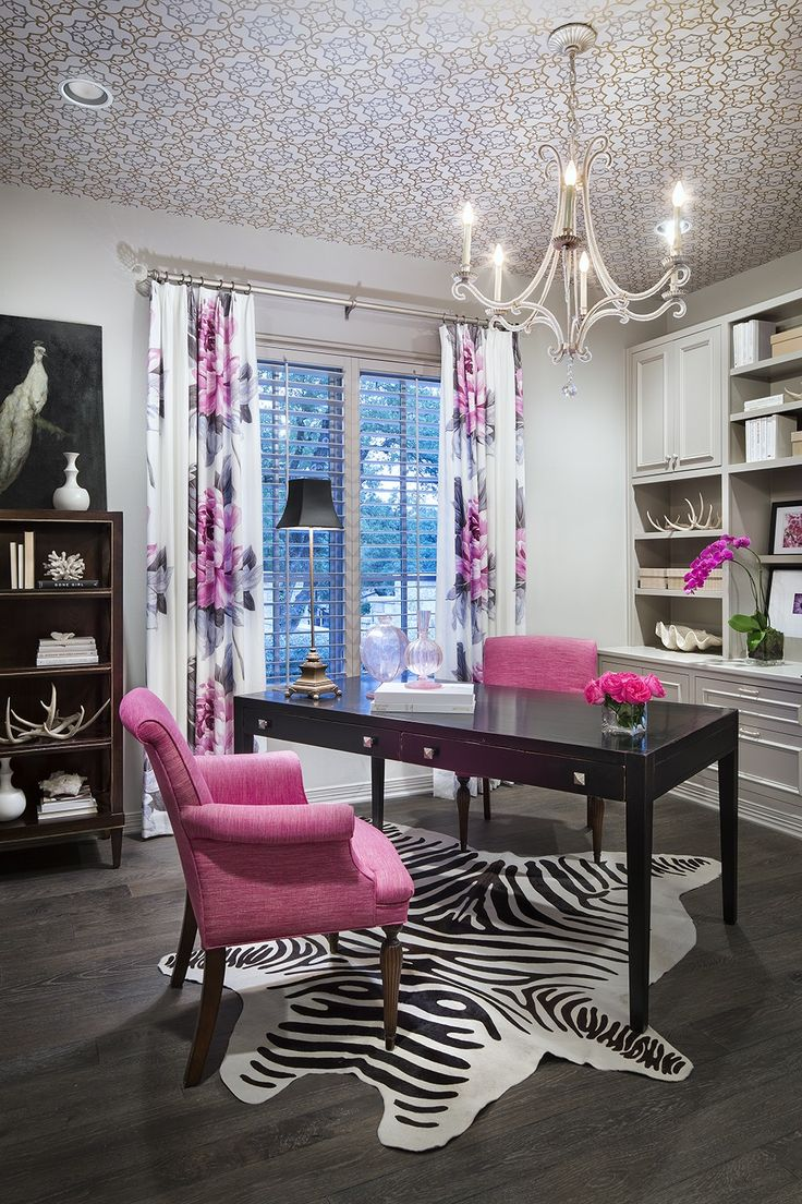 Pink And Grey Office Features A Trellis Wallpapered Ceiling Accented With  An Oslo Chandelier Hanging Over Am Angled Black Desk Lined With Hot Pink  Chairs ... Part 80