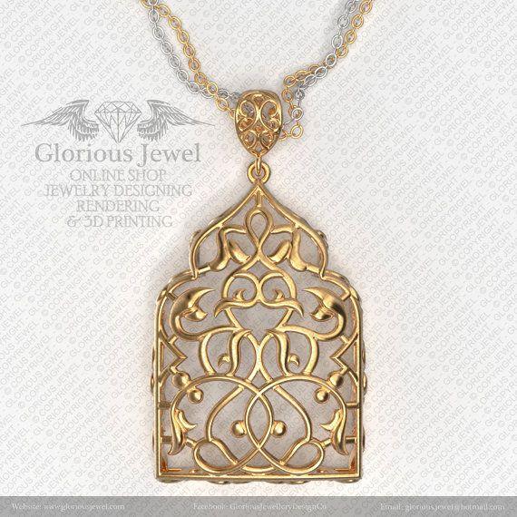 Glorious Persian style OOAK pendant / Eslimi design / 925