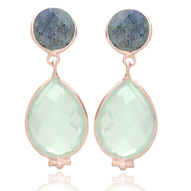 Nicole Fendel Selene Teardrop Stud Earring - Labrodite/Mint Chalcedony - Rose Gold