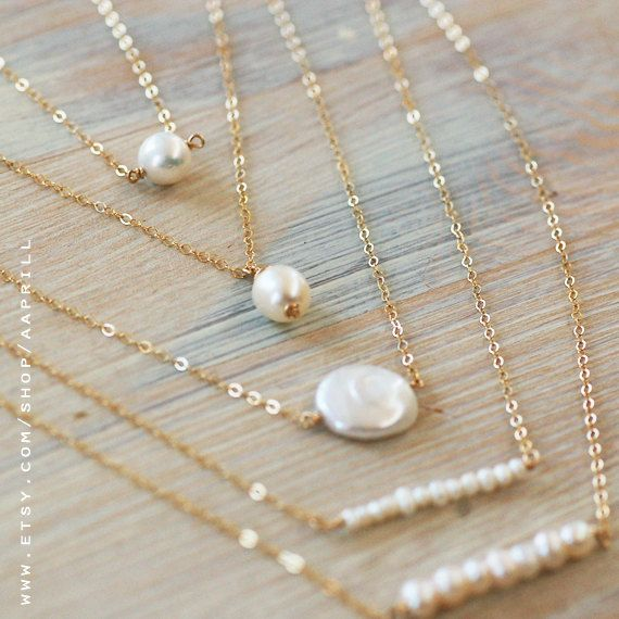 Pearl Bar Necklace Simple Pearl Necklace Pearl and Gold by AAprill