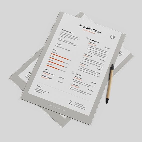 Professional Resume Template Instant Download  Cover by papernoon