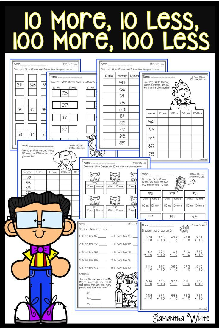 10 More 10 Less 100 More 100 Less Worksheets Elementary School Math Activities Elementary School Math Math Practices [ 1104 x 736 Pixel ]