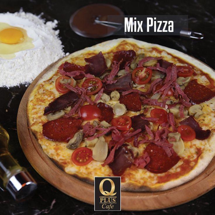 Karnı acıkanlara duyurulur! Mix Pizza'nız hazır, sizi bekliyoruz... 🙂 #Qpluscafe #Pizza