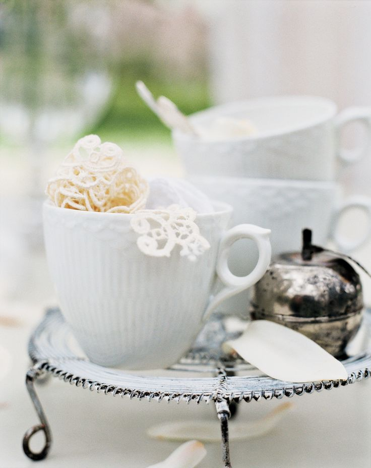White Fluted Half Lace cup