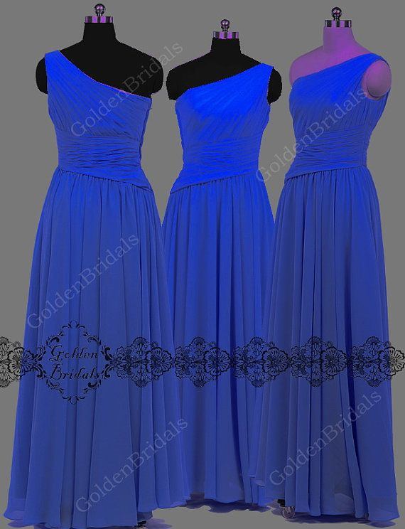 Sapphire Blue Chiffon Dress,Long dark blue Bridesmaid Dresses,One-Shoulder Bright Teal Bridal Party Dresses on Etsy, $69.00