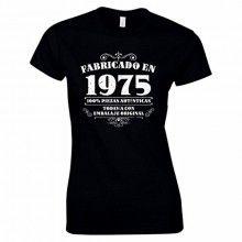 Camiseta de mujer para regalo de 40 cumpleaños Manufactured 1975 en negro talla XXL
