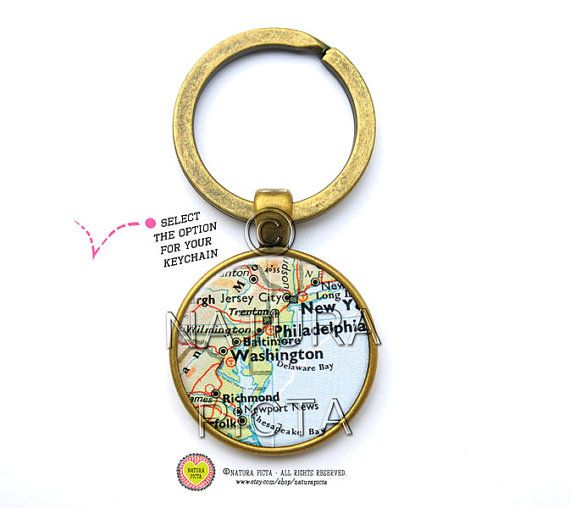 Vintage Washington map keychain-Washington D.C. map by naturapicta