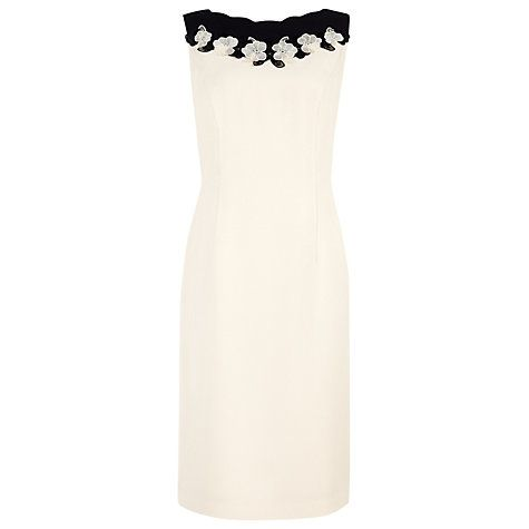 Buy Jacques Vert Organza Trim Dress, Cream/Black Online at johnlewis.com