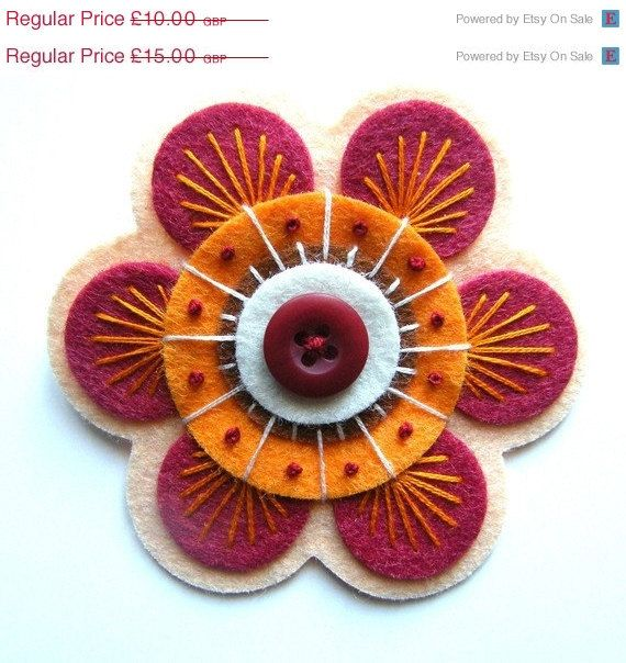 January Sale ON SALE 70S Inspired Felt Button Brooch With Freeform Embroidery. £7.50, via Etsy.