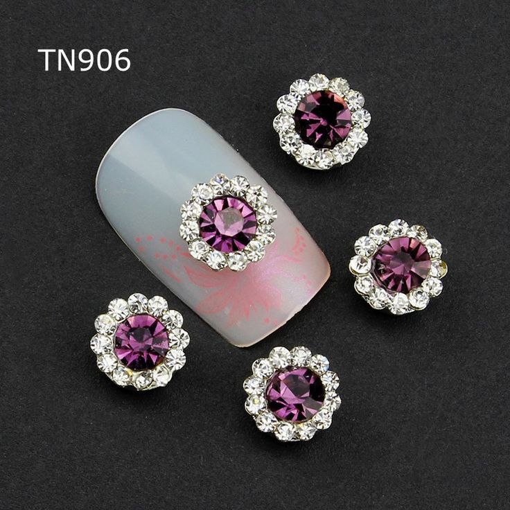 10pcs Purple Alloy Glitter 3d Nail Art Decorations with Rhinestones ,Alloy Nail Charms,Jewelry on Nails Salon Supplies TN906 #Affiliate