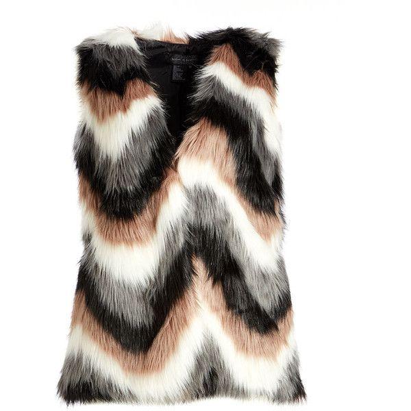 Live A Little Brown & Gray Faux Fur Zigzag Vest ($50) ❤ liked on Polyvore featuring plus size women's fashion, plus size clothing, plus size outerwear, plus size vests, plus size, faux fur vest, gray faux fur vest, womens plus size vests, long grey vest and brown vest