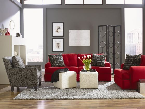 Not Sure About Gray On The Walls But I Like The Overall Color Scheme Red Couch Living Roomliving Room Ideasliving