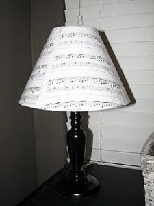 Sheet Music Lampshade | Isn't this adorable?!  How cute would this look on a nightstand or by the piano?  See another example here.