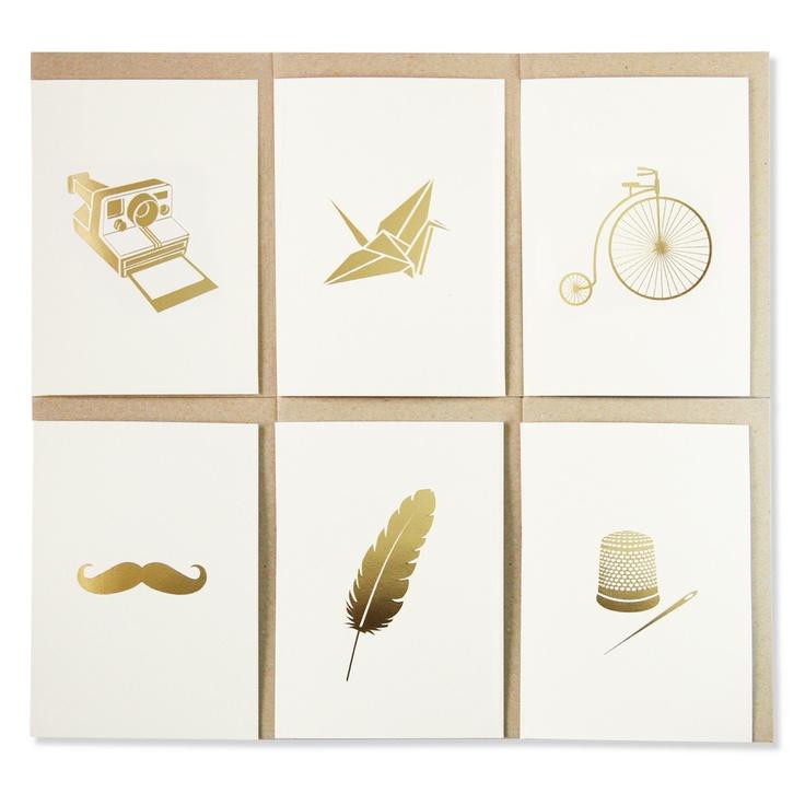 Assorted 6 Pack of Greeting Cards Metallic Gold Foil, Blank Interior  www.splendourvendor.com