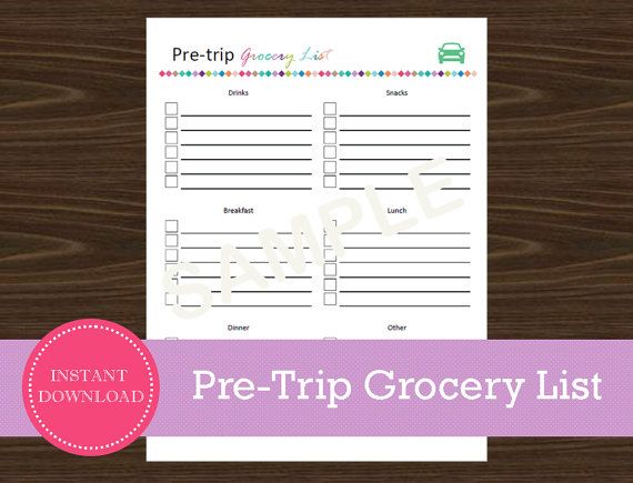 Pre-Travel Grocery List  Road Trip Grocery List by RoadTripBlogger