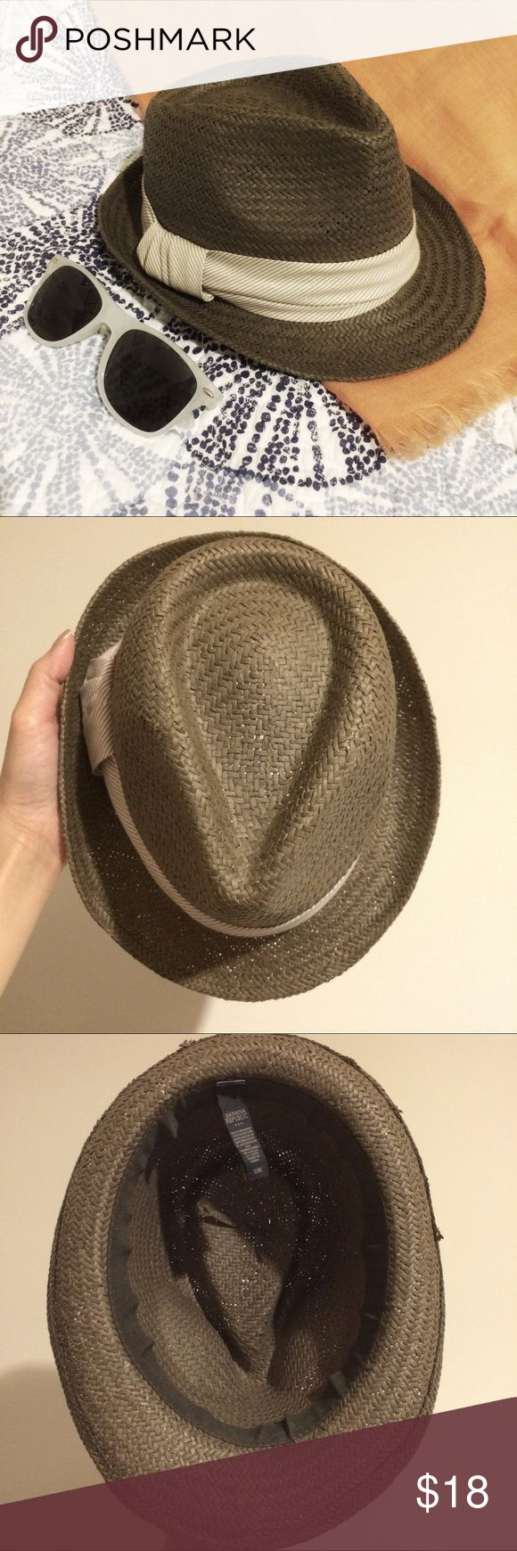 Banana Republic Woven Fedora Great neutral hat for many outfits. Brown with striped band containing silver and light brown stripes. Size S/M. Lovely with shorts and rolled up sleeves for summer. Worn only 3 times, and like new. No holes, creases or stains. Banana Republic Accessories Hats