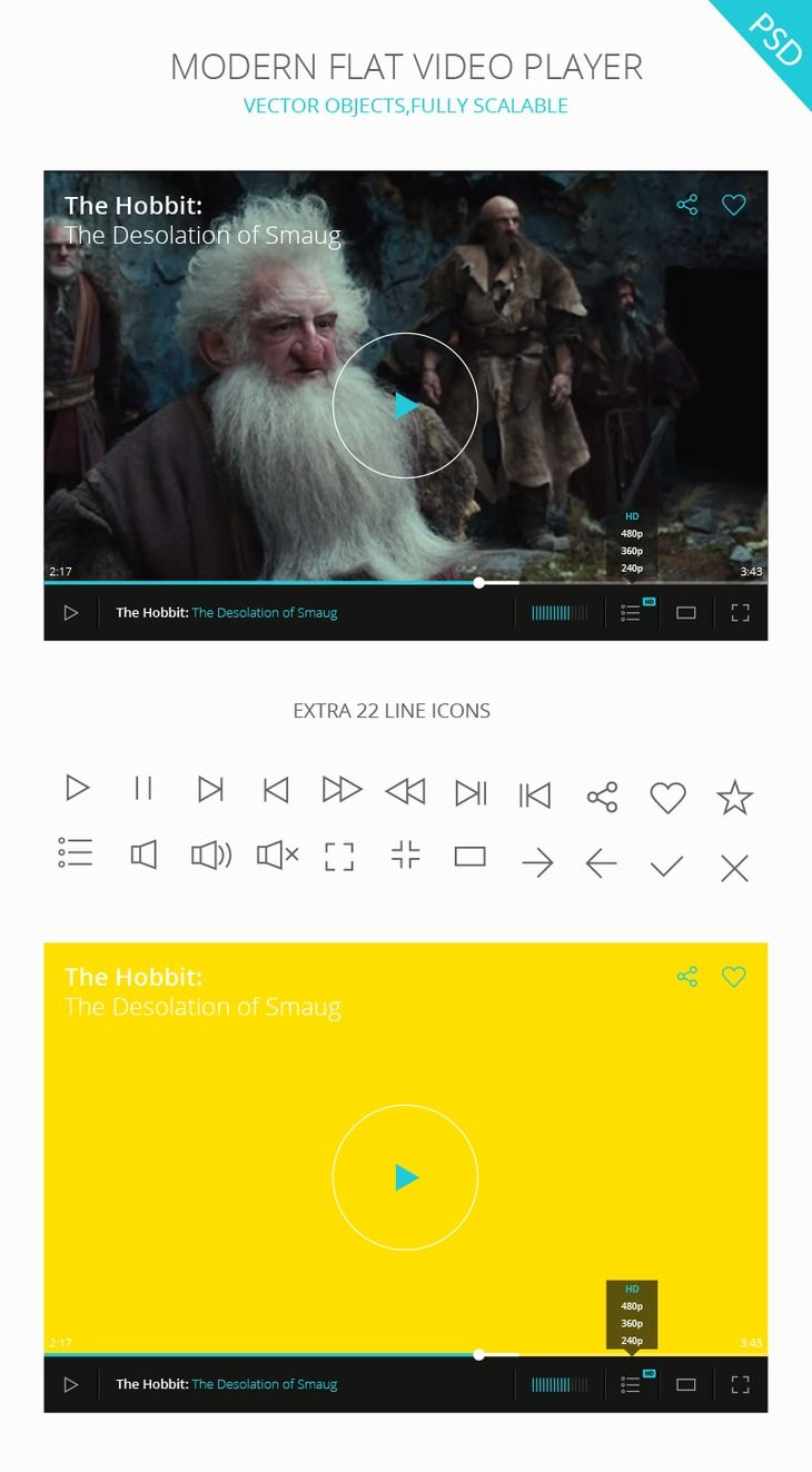 This video player come in PSD file. Modern flat design, best for use in web and mobile applications. 22 line icons in vector shape are included in PSD file.