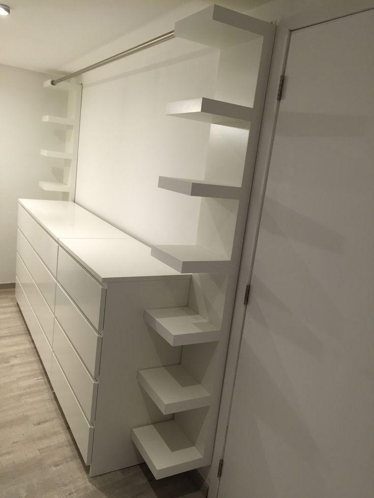 """Dressing avec trois meubles Ikea """" malm """", deux meubles Ikea """" lack """" et une tringle de 2m40… – nougatine BLABBLA"""