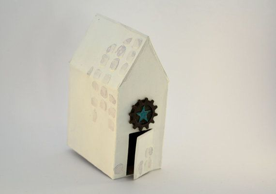 Decorative house mixed media white metal cog star and by BucketOfBadgers