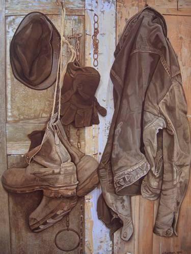 Jopie Huisman-Stilleven met leren jas van Jelmer-1975