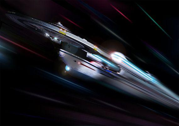 Star Trek Digital Art  Glossy Print  'Excelsior by SaganDigitalArt