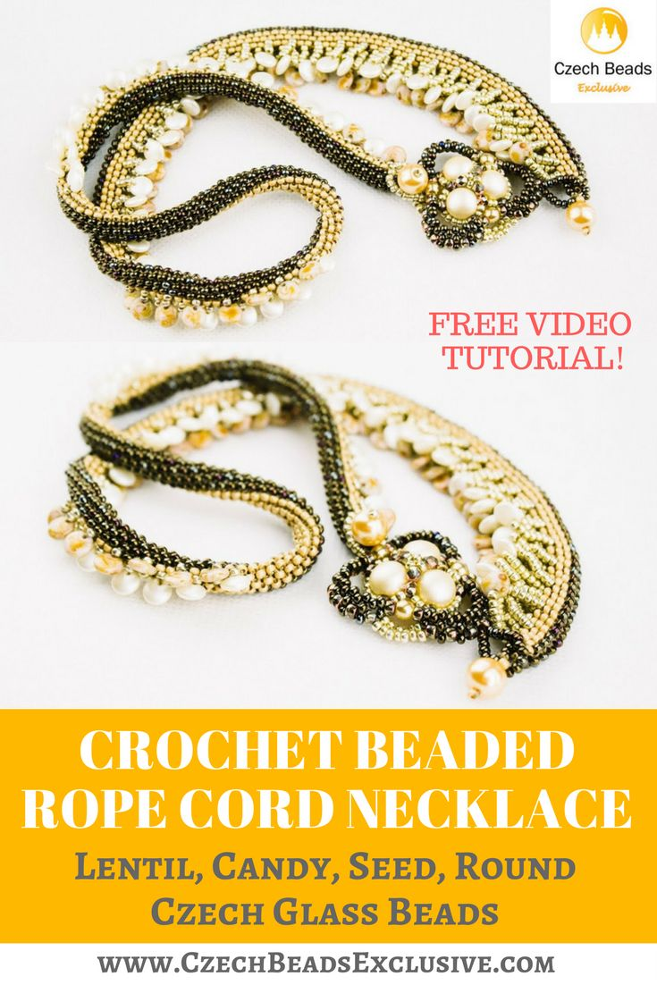 Lentil, Candy, Seed, Round Czech Glass Beads - Crochet Beaded Rope Cord Necklace Free Video Tutorial Pattern -> SAVE it! Today we�ll show you a real magic trick � how to transform a simple mosaic beaded cord into something unusual and extremely beautiful! More than that, this crochet rope beaded necklace is light-colored from one side and dark-colored from another. Can you imagine? Let�s start creating our crocheted bead jewelry story! - all is good and possible with…