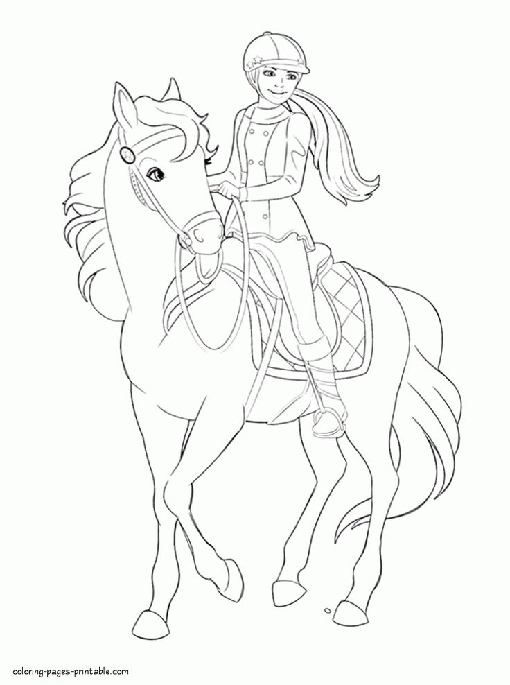 Coloring page Barbie   Barbie coloring pages, Horse ...