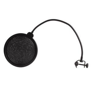 NiceEshoop(TM) studio microphone wind screen pop filter. http://www.buythebest10.com/top-10-best-studio-pop-filters-reviews/