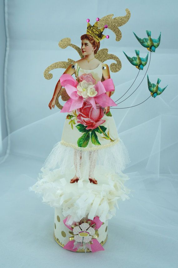 Victorian Paper Doll with Blue Birds Box by SparkleLovesWhimsey