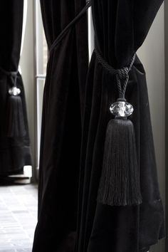 black velvet curtains with crystal tiebacks - Bieke Vanhoutte