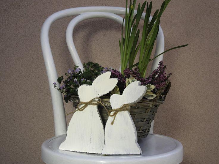 Wohnaccessoires - Osterhasen aus Holz - Set - ein Designerstück von Emmart1 bei DaWanda