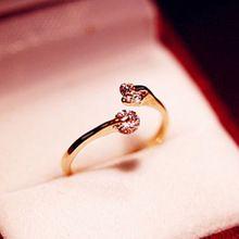 Marca CZ Diamante Anéis de Casamento Jóias para mulheres bijoux presentes abertura Rosa banhado a ouro anéis de Cristal anel feminino(China (Mainland))