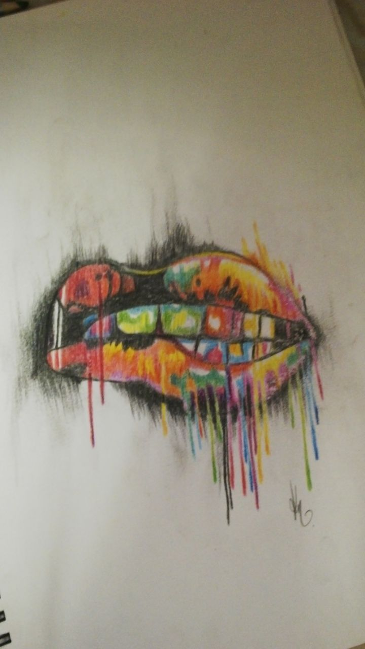 Water color Lip drawing. Artist: Kegan Neuper.  Style Ink Tattoos