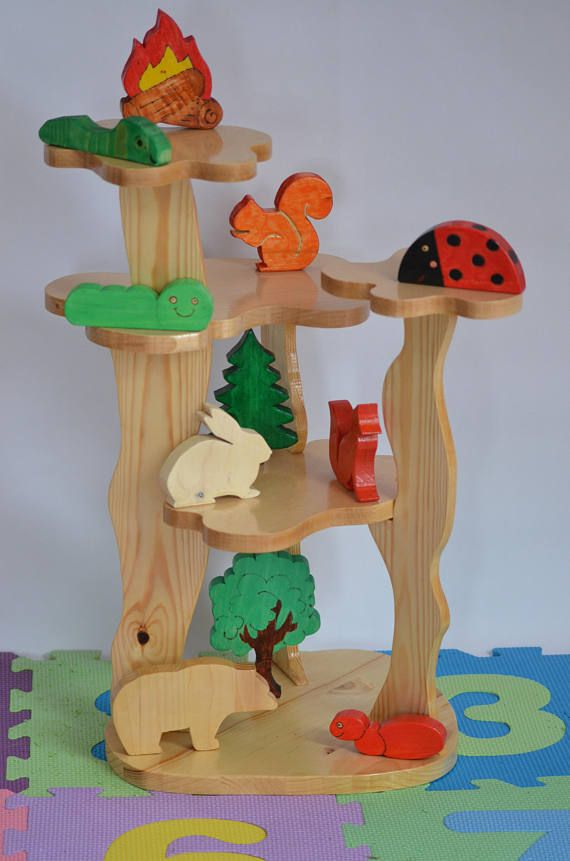 Wooden Tree House Play Set with Forest Animal Toys Waldorf