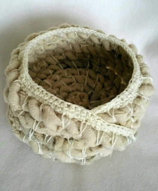 Creamy Oatmeal Rustic Coiled Basket, by Frayed Nest Studio Kim Bauer