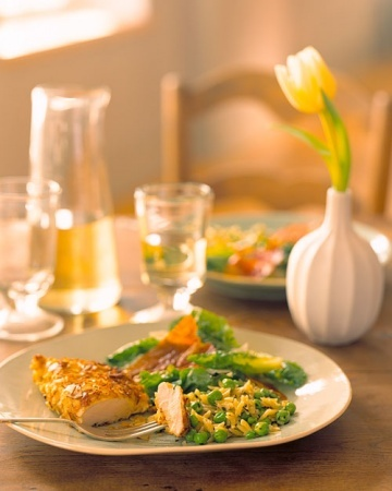 Almond-Crusted Chicken and Orzo with Peas and Mint