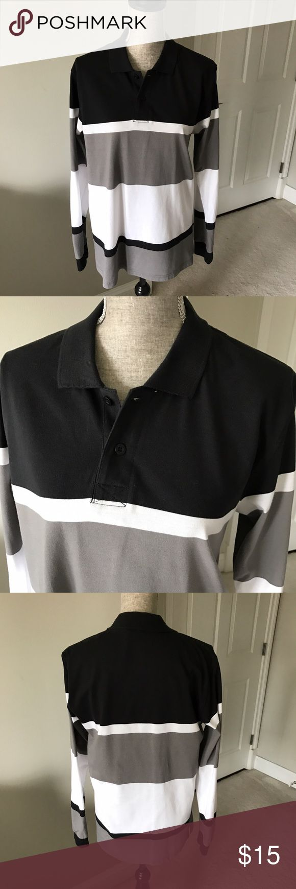 Men long sleeve striped polo shirt Black gray and white striped long sleeve collared shirt. Just dry cleaned. marquis Shirts