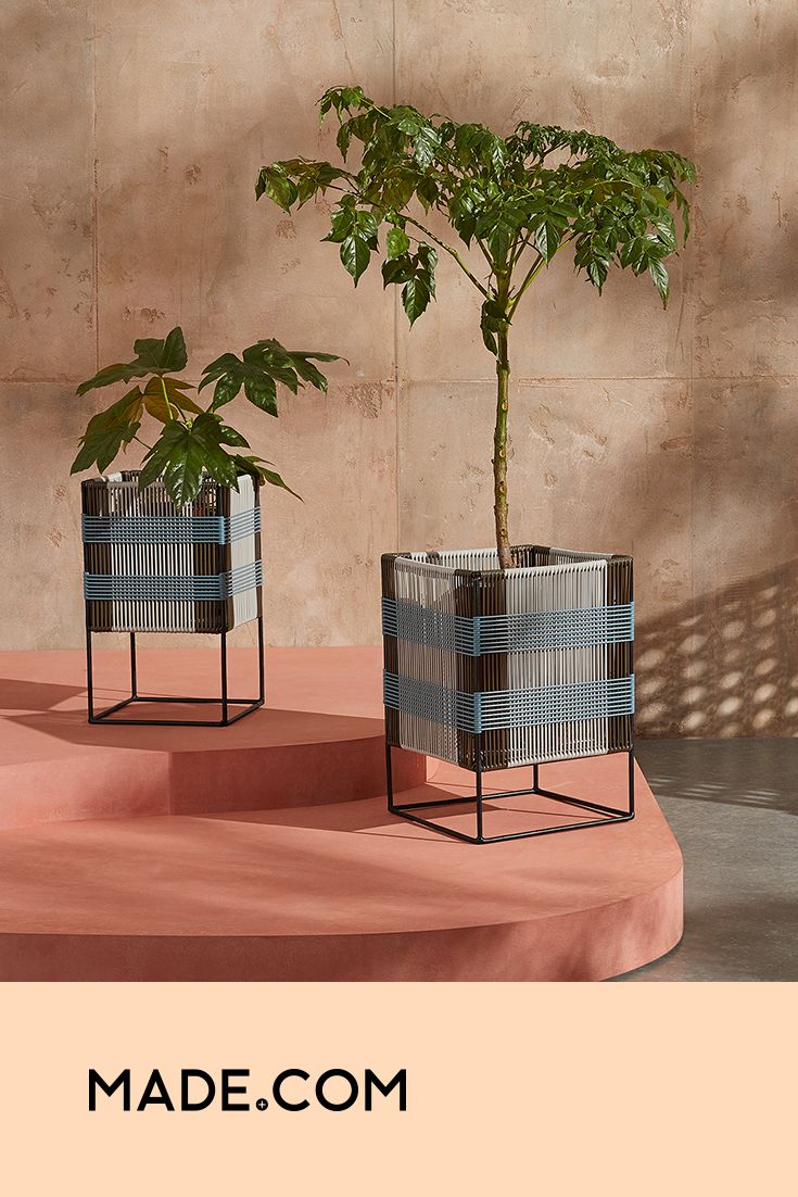 Ariba Set Of Two Tiered Woven Square Plant Stands Multi In 2020