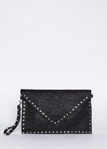 Studded Envelope Clutch- Black faux leather clutch featuring studded detail with snap button and zipper closure.