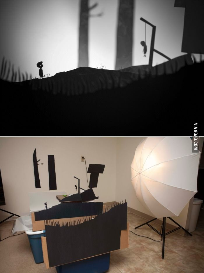 """Paper shadows. This gave me an idea about creating a frame with paper """"3d"""" effect, and then putting an led light on the insight for the shadow effect!"""