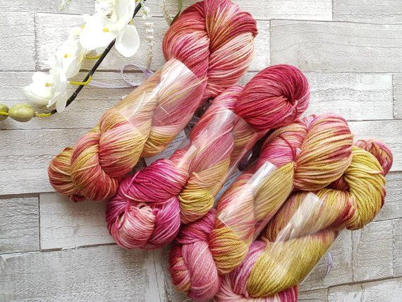 yorkshire in bloom Colourway hand dyed wool sparkle sock yarn 4ply yarn Dyed to order in UK. Double Knit yarn Hand dyed yarn